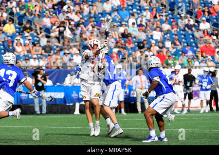 Foxborough, Mass. 26th May, 2018. Maryland Terrapins midfielder Bubba Fairman (2) passes the ball during the NCAA Division I Lacrosse semi final between Duke and Maryland, held at Gillette Stadium, in Foxborough, Mass. Duke defeats Maryland 13-8. Eric Canha/CSM/Alamy Live News - Stock Photo
