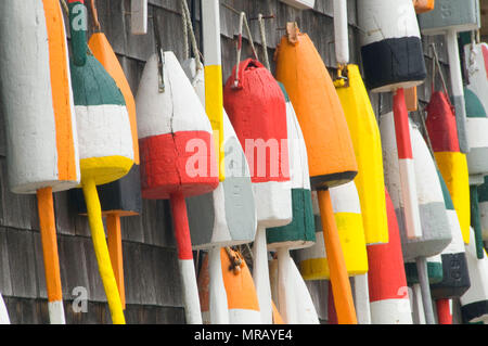 Lobster pot buoys, Seal Cove, Maine - Stock Photo