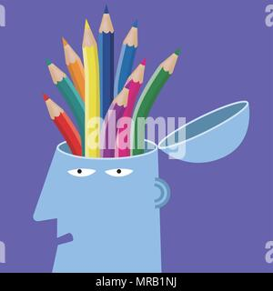 Artificial intelligence concept design, pencil in the brain.background is purple. - Stock Photo