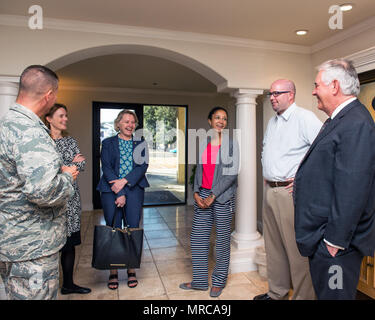 Secretary of State Rex Tillerson visits the distinguished visitors lounge at Travis Air Force Base, Calif., June 2, 2017. Tillerson stopped at Travis before heading to Sydney, Australia to attend the Australia-United States Ministerial Consultations forum. (U.S. Air Force photo by Louis Briscese) - Stock Photo