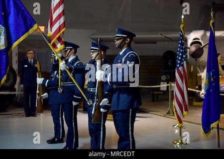 The Robins Air Force Base Honor Guard presents the colors at the opening of the 78th Medical Group Dental Squadron inactivation ceremony June 2, 2017 at Hangar One of the Museum of Aviation. The ceremony marked the transition of the 78th DS into a flight. (U.S. Air Force photo by Tommie Horton) - Stock Photo