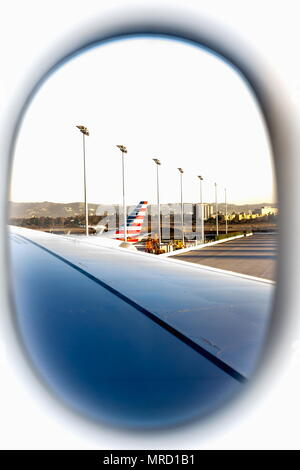 View from an airplane window at Los Angeles International Airport - Stock Photo