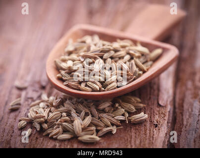 Fennel seeds in a scoop on natural surface - Stock Photo
