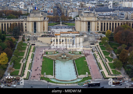 Square Trocadero seen from the Eiffel tower - Stock Photo
