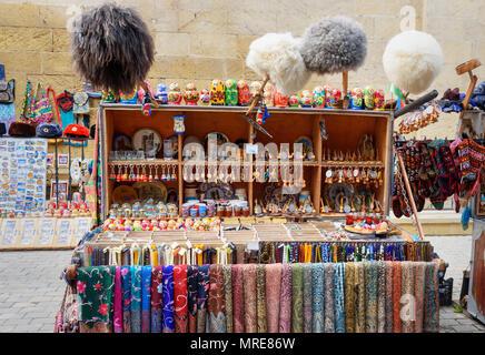 Baku, Azerbaijan - March 10, 2018: Souvenir street market for tourists in Old city Icheri Sheher - Stock Photo
