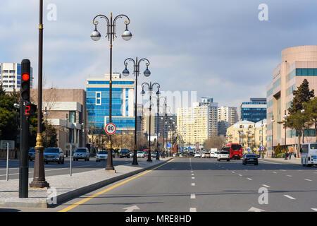 Baku, Azerbaijan - March 11, 2018: View of Yusif Safarov Street in Baku - Stock Photo