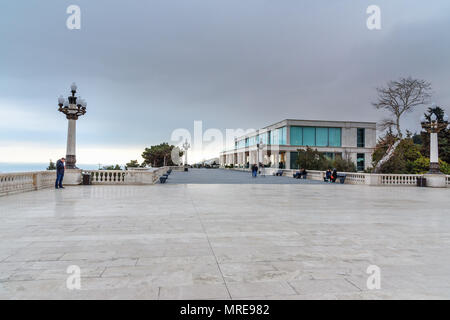 Baku, Azerbaijan - March 11, 2018: Viewpoint in Upland park in the evening - Stock Photo