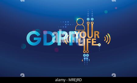 GDPR concept illustration. General Data Protection Regulation abbreviation. Law about personal data protection. Composition from letters GDPR and icon - Stock Photo