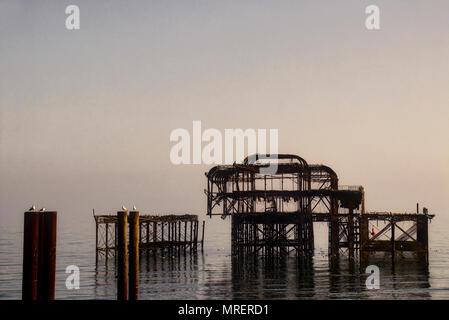 West Pier Brighton Sussex England - Stock Photo