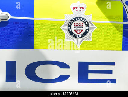British Transport Police emblem on the side of a patrol car - Stock Photo