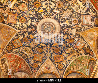 PARMA, ITALY - APRIL 17, 2018: The ceilig fresco (grotesque) of Camera di San Paolo by Alessandro Araldi (1514). - Stock Photo