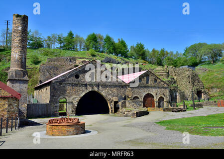 Blaenavon Ironworks blast furnace complex a former industrial site now a National museum, South Wales Valleys, UK  The ironworks was of crucial import - Stock Photo