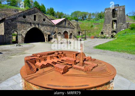 Blaenavon Ironworks blast furnace complex and model of former industrial site now a National museum, South Wales Valleys, UK  The ironworks was of cru - Stock Photo