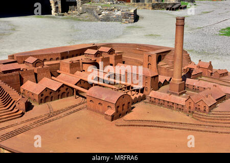 Model of Blaenavon Ironworks a former industrial site now National museum, South Wales Valleys, UK - Stock Photo