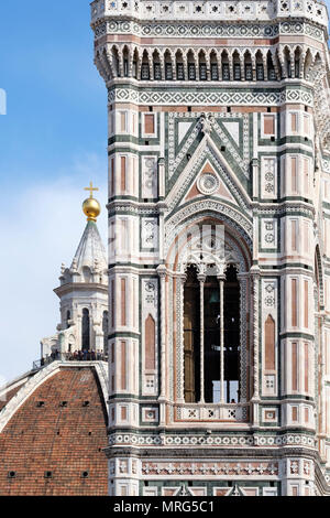 Cupola del Brunelleachi, Campanile di Giotto, Florence, Tuscany, Italy, Europe, - Stock Photo