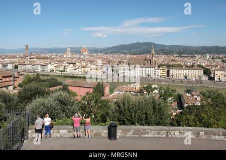 Florence cityscape showing the Cattedrale di Santa Maria del Fiore; Cupola del Brunelleachi; Campanile di Giotto; Palazzo Vecchio, Basilica di Santa C - Stock Photo
