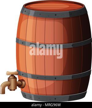 A Wine Barrel on White Background illustration - Stock Photo