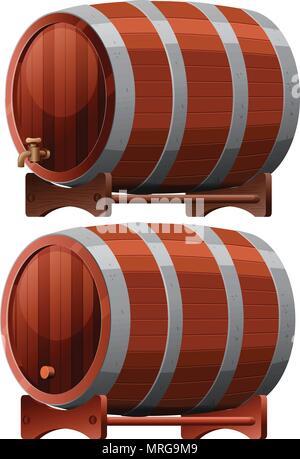 Wine Barrel on White Background illustration - Stock Photo