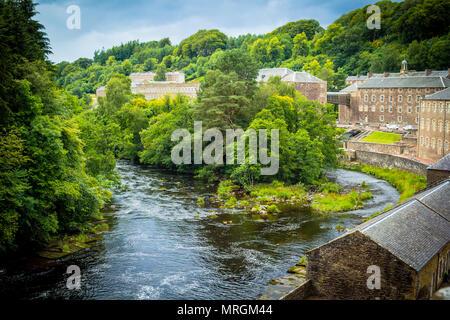 View of New Lanark Heritage Site, Lanarkshire in Scotland, United Kingdom - Stock Photo
