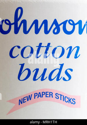 Johnson's Cotton Buds now have paper sticks instead of using plastic - Stock Photo
