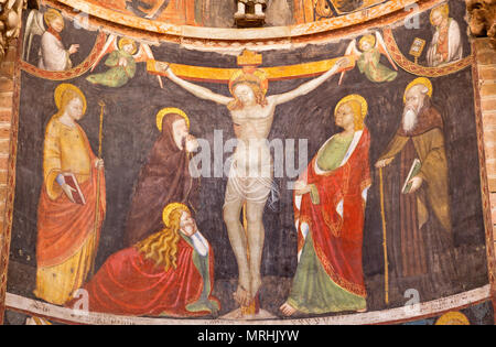 PARMA, ITALY - APRIL 16, 2018: The medieval fresco of Crucifixion in Baptistery. - Stock Photo