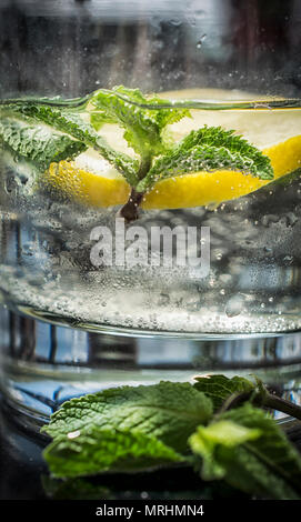 Mineral water with lemon and mint - Stock Photo