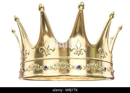 Gold crown isolated on white background - 3D Rendering - Stock Photo