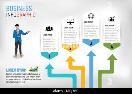 Vector illustration Infographic template layout design for presentation, business meeting, marketing, techonology workflow, planning or any purpose. - Stock Photo