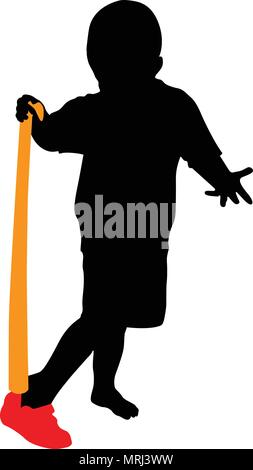 boy puts on shoe shoehorn vector silhouette illustration - Stock Photo