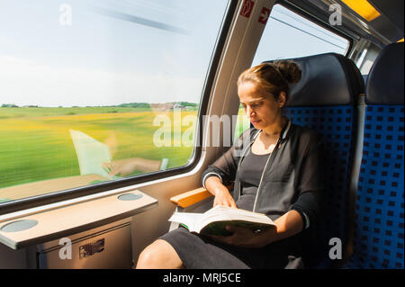 Young woman reading a book while travelling by train - Stock Photo