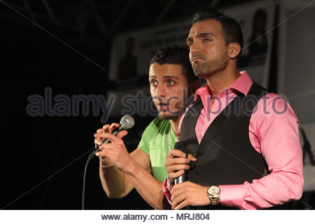 Pakistani-Canadian singers and rappers Sham Idrees and Karter Zaheri perform during the Pakistan Mela in Markham, Ontario, Canada. - Stock Photo