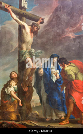 PARMA, ITALY - APRIL 16, 2018: The painting of Crucifixion in church Chiesa di San Antonio Abate by Giuseppe Peroni (1710 - 1776). - Stock Photo