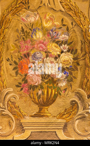 PARMA, ITALY - APRIL 16, 2018:  The painting of baroque bunch of flowers in church Chiesa di San Benetetto by Antonio Bresciani e Gaetano Ghidetti - Stock Photo