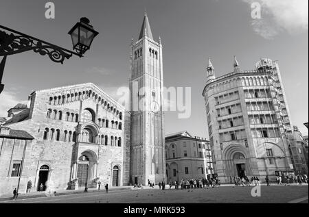 PARMA, ITALY - APRIL 17, 2018: The Dome - Duomo (La cattedrale di Santa Maria Assunta) and Baptistery. - Stock Photo