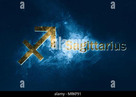 Sagittarius Horoscope Sign Abstract Night Sky Background Stock