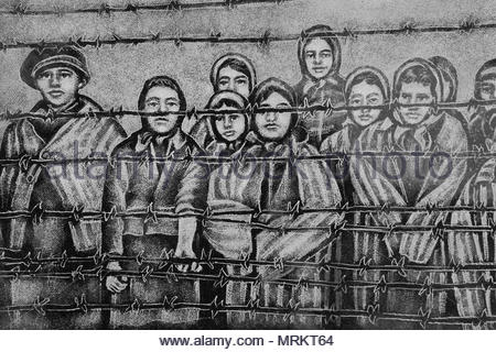 Etching at the Holocaust Memorial in Toronto, Canada depicting the children who survived the Auschwitz-Birkenau concentration camps. - Stock Photo