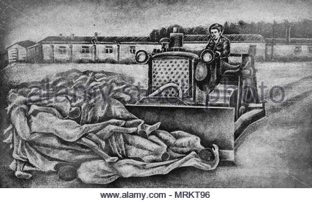 Etching at the Holocaust Memorial in Toronto, Canada depicting the bulldozers clearing away corpses at the Bergen-Belsen concentration camps. - Stock Photo