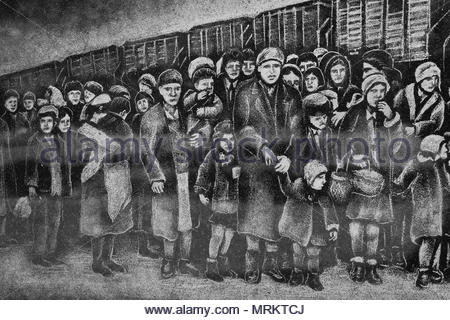 Etching at the Holocaust Memorial in Toronto, Canada depicting the deportation of Jews to the Auschwitz-Birkenau concentration camps. - Stock Photo