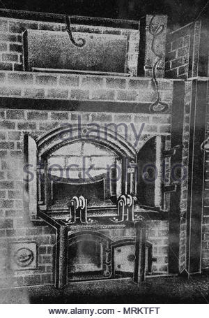 Etching at the Holocaust Memorial in Toronto, Canada depicting the Dachau concentration camps crematorium ovens burning the bodies of Jews. - Stock Photo