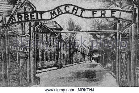 Etching at the Holocaust Memorial in Toronto, Canada depicting the depicting the entrance to the Auschwitz concentration camp with the words 'Arbeit M - Stock Photo