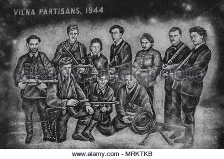Etching at the Holocaust Memorial in Toronto, Canada depicting the Vilna Partisans. - Stock Photo
