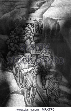 Etching at the Holocaust Memorial in Toronto, Canada depicting forced labour of Jews in the concentration camps. - Stock Photo