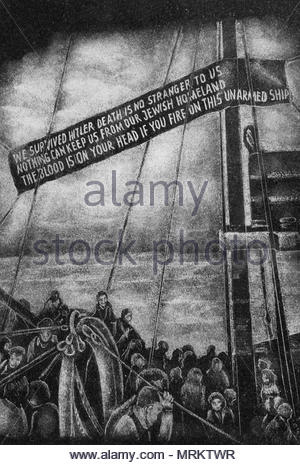 Etching at the Holocaust Memorial in Toronto, Canada depicting Jews on a ship bound for Israel after the second world war. - Stock Photo