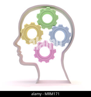intellectual female concept, wheels spinning and mind turning - Stock Photo
