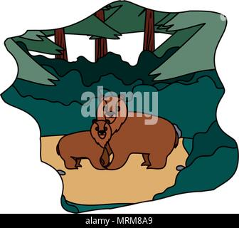 color cute bear animal with his son in the landscape - Stock Photo