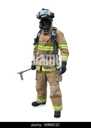 Modern firefighter in gear with equipment isolated on a white background, first responder - Stock Photo