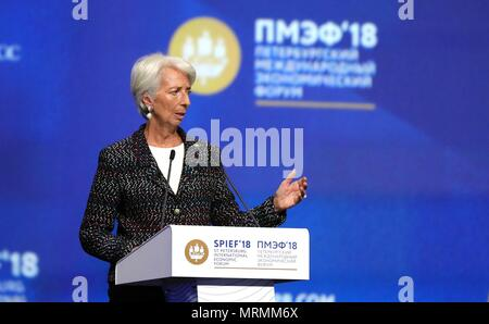 IMF Managing Director Christine Lagarde addresses the plenary session of the 22nd St Petersburg International Economic Forum May 25, 2018 in St. Petersburg, Russia.    (Russian Presidency via Planetpix) - Stock Photo