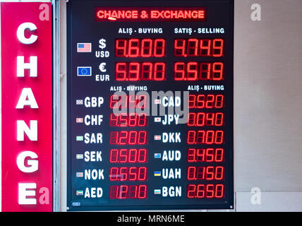 Turkish lira foreign exchange rates displays on a digital LED display board  in Istanbul, Turkey, - Stock Photo