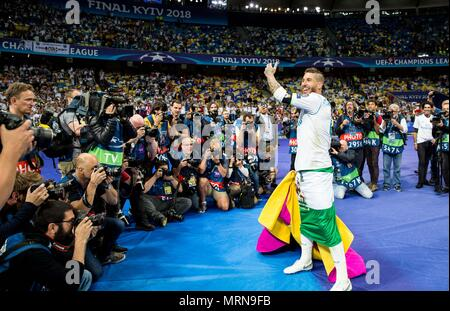 Kiev, Ukraine. 26th May, 2018. Sergio Ramos of Real Madrid celebrates after the UEFA Champions League final match between Liverpool and Real Madrid in Kiev, Ukraine, on May 26, 2018. Real Madrid claimed the title with 3-1. Credit: Wu Zhuang/Xinhua/Alamy Live News - Stock Photo