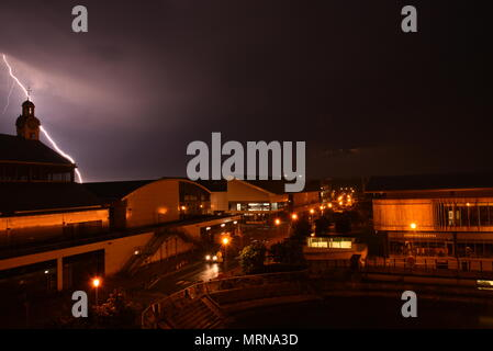 Chatham, Kent, UK, 27th May 2018 Bank holiday storm hits south east England with multiple lightning strikes Credit: stuart bingham/Alamy Live News - Stock Photo